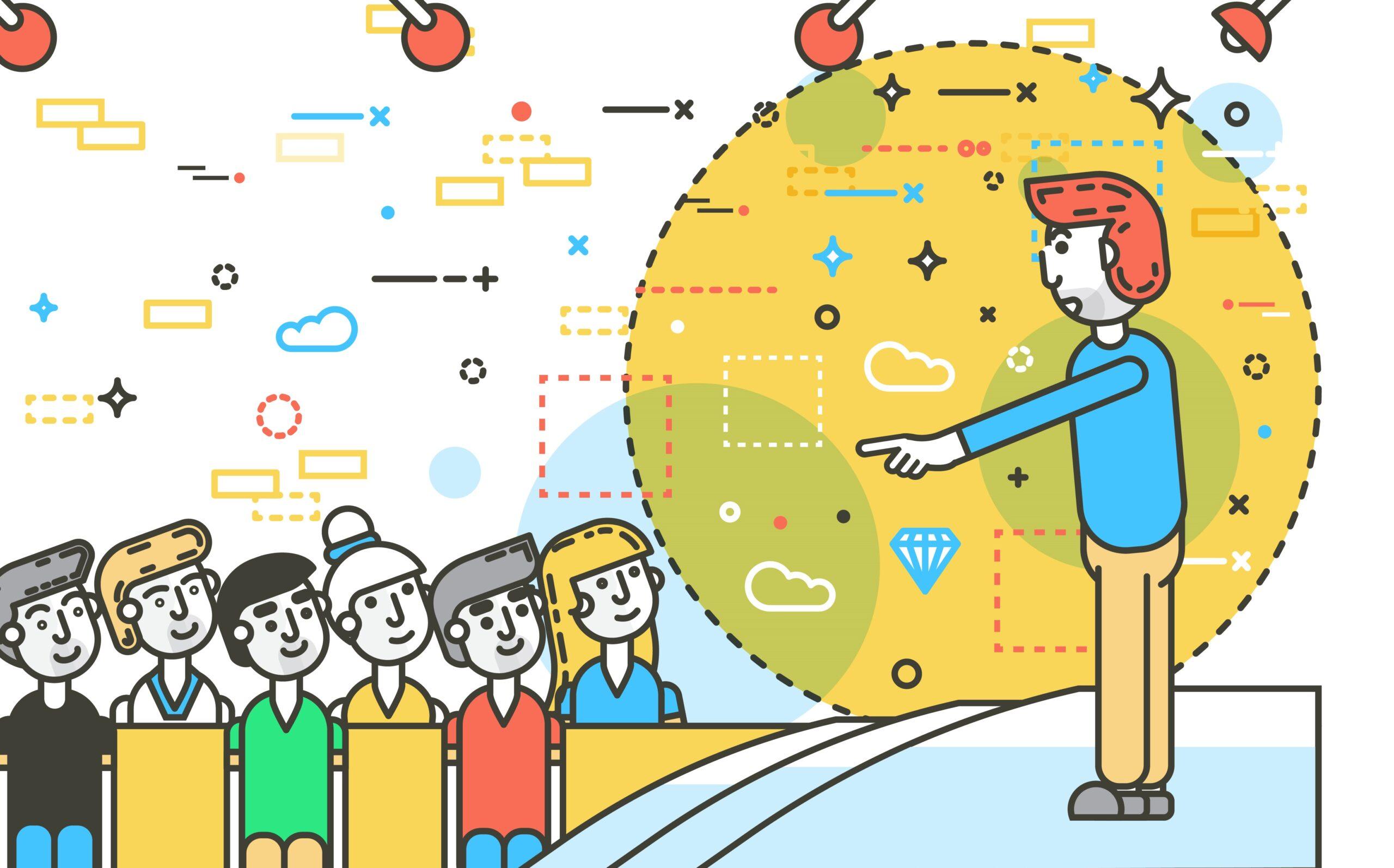 В какой группе оратору выступать легче, в маленькой или большой. Картинка.